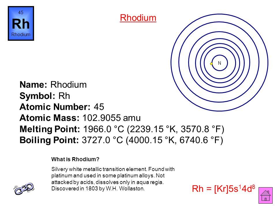 Name: Ruthenium Symbol: Ru Atomic Number: 44 Atomic Mass: 101.07 amu Melting Point: 2250.0 °C (2523.15 °K, 4082.0 °F) Boiling Point: 3900.0 °C (4173.1