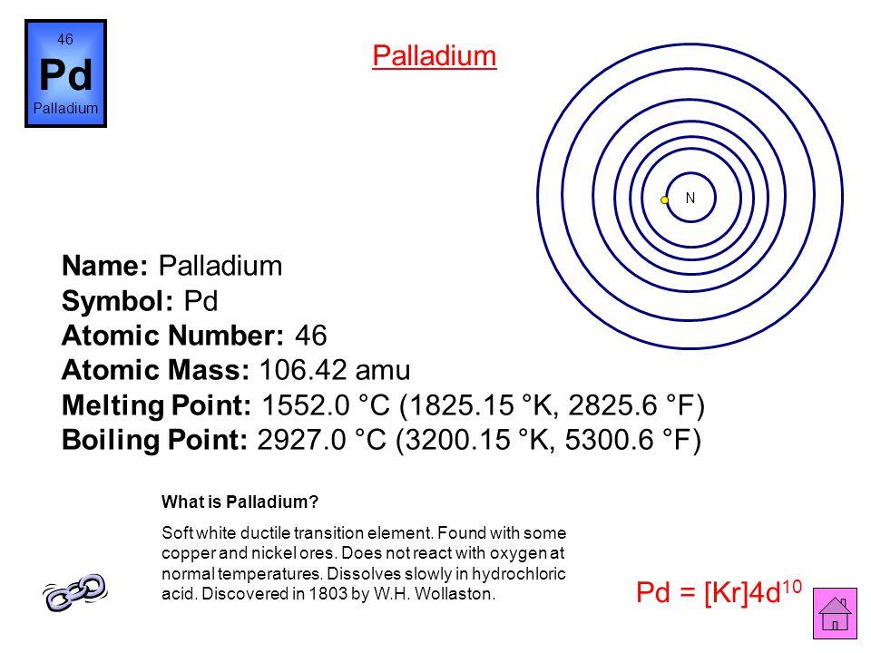 Name: Rhodium Symbol: Rh Atomic Number: 45 Atomic Mass: 102.9055 amu Melting Point: 1966.0 °C (2239.15 °K, 3570.8 °F) Boiling Point: 3727.0 °C (4000.1