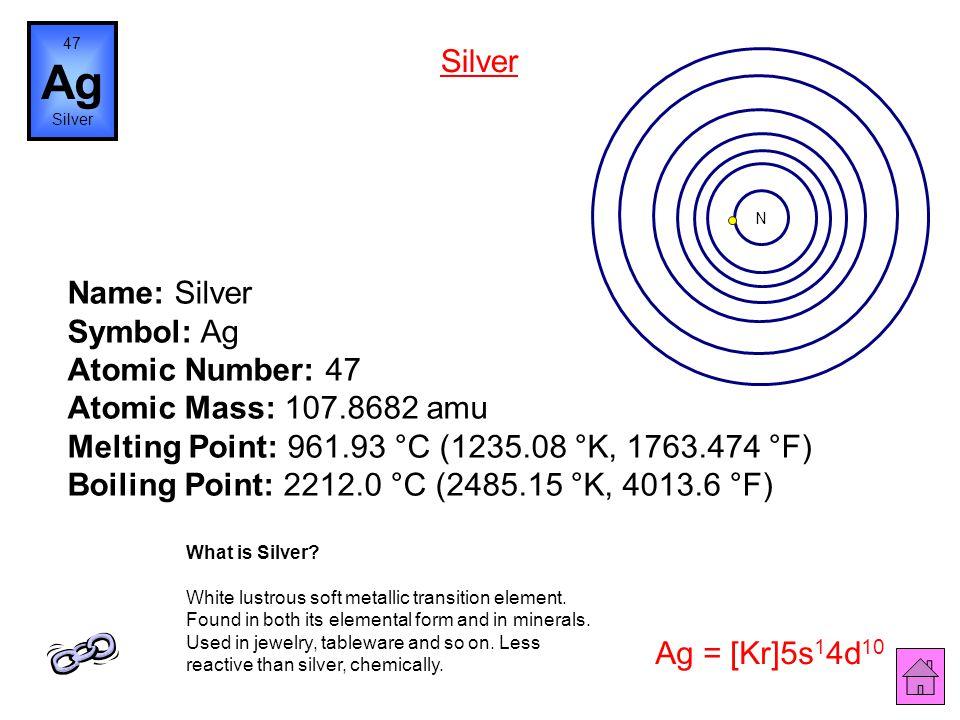 Name: Palladium Symbol: Pd Atomic Number: 46 Atomic Mass: 106.42 amu Melting Point: 1552.0 °C (1825.15 °K, 2825.6 °F) Boiling Point: 2927.0 °C (3200.1