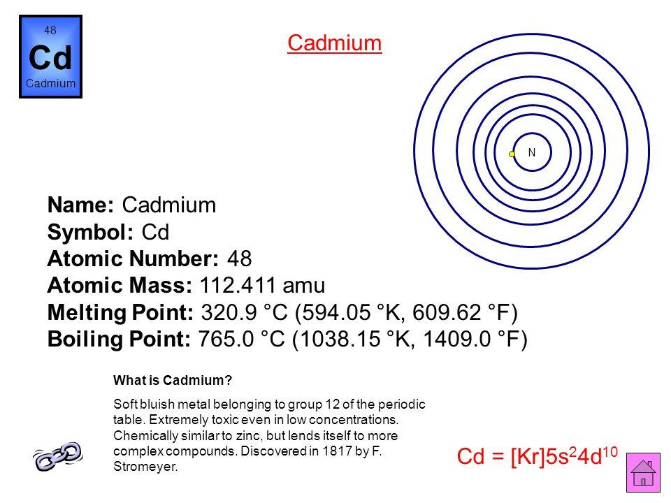 Name: Silver Symbol: Ag Atomic Number: 47 Atomic Mass: 107.8682 amu Melting Point: 961.93 °C (1235.08 °K, 1763.474 °F) Boiling Point: 2212.0 °C (2485.