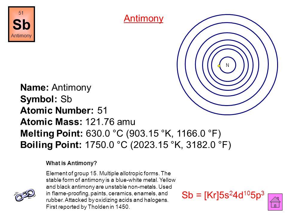 Name: Tin Symbol: Sn Atomic Number: 50 Atomic Mass: 118.71 amu Melting Point: 231.9 °C (505.05 °K, 449.41998 °F) Boiling Point: 2270.0 °C (2543.15 °K,