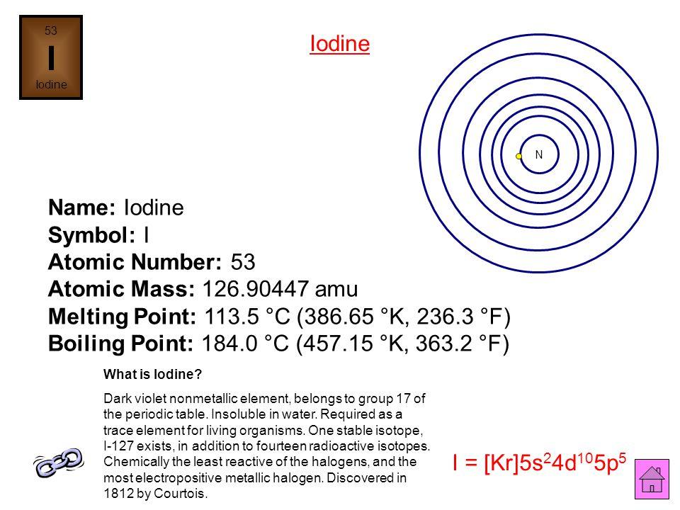 Name: Tellurium Symbol: Te Atomic Number: 52 Atomic Mass: 127.6 amu Melting Point: 449.5 °C (722.65 °K, 841.1 °F) Boiling Point: 989.8 °C (1262.95 °K,