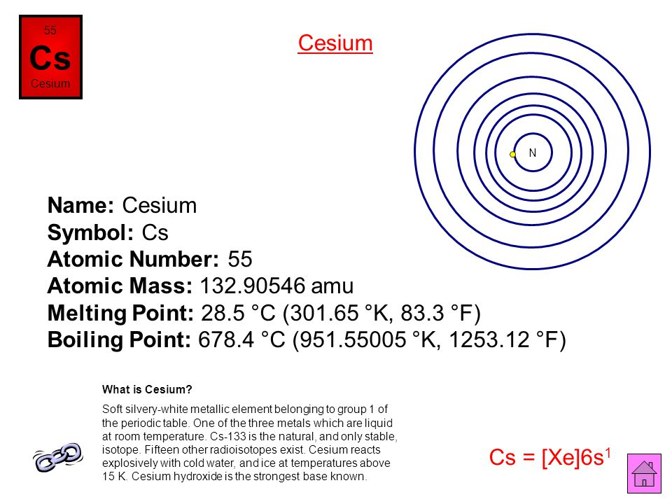 Name: Xenon Symbol: Xe Atomic Number: 54 Atomic Mass: 131.29 amu Melting Point: -111.9 °C (161.25 °K, -169.42 °F) Boiling Point: -108.1 °C (165.05 °K,