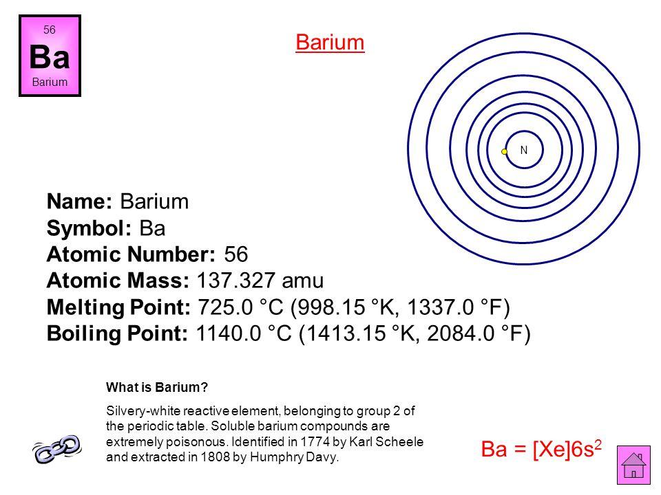 Name: Cesium Symbol: Cs Atomic Number: 55 Atomic Mass: 132.90546 amu Melting Point: 28.5 °C (301.65 °K, 83.3 °F) Boiling Point: 678.4 °C (951.55005 °K