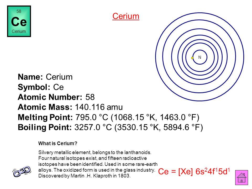 57 La Lanthanum Name: Lanthanum Symbol: La Atomic Number: 57 Atomic Mass: 138.9055 amu Melting Point: 920.0 °C (1193.15 °K, 1688.0 °F) Boiling Point:
