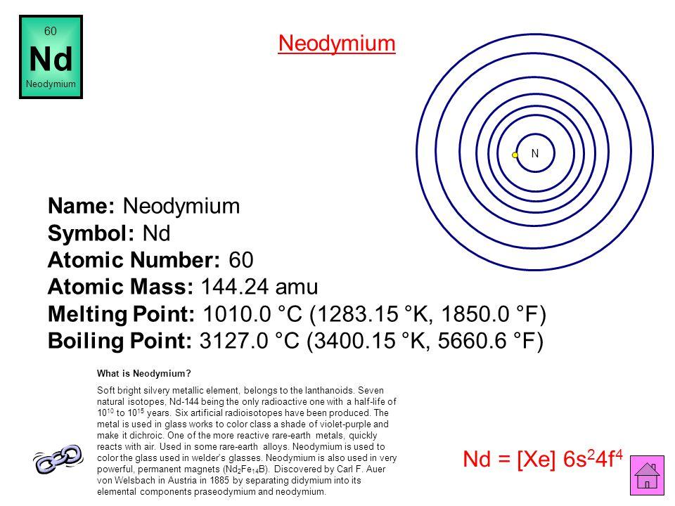 Name: Praseodymium Symbol: Pr Atomic Number: 59 Atomic Mass: 140.90765 amu Melting Point: 935.0 °C (1208.15 °K, 1715.0 °F) Boiling Point: 3127.0 °C (3