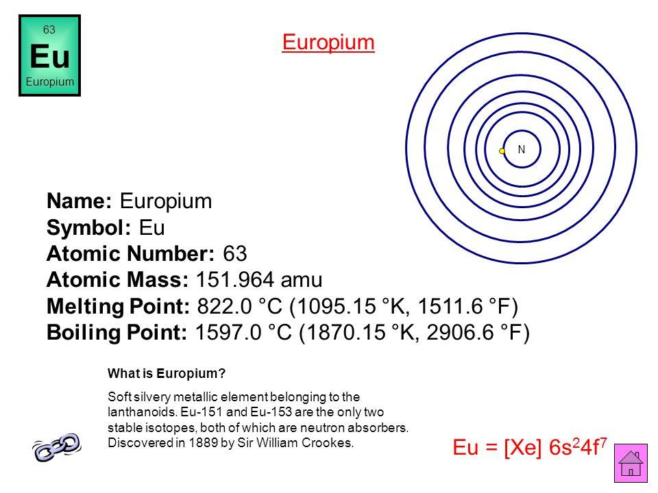 Name: Samarium Symbol: Sm Atomic Number: 62 Atomic Mass: 150.36 amu Melting Point: 1072.0 °C (1345.15 °K, 1961.6 °F) Boiling Point: 1900.0 °C (2173.15