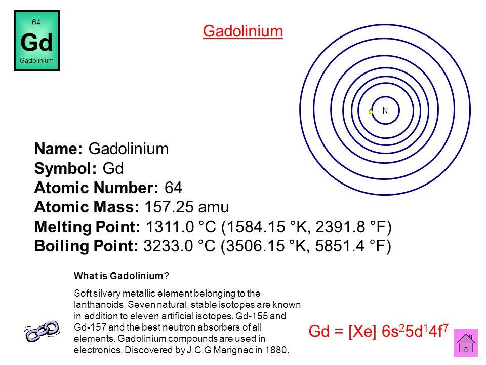 Name: Europium Symbol: Eu Atomic Number: 63 Atomic Mass: 151.964 amu Melting Point: 822.0 °C (1095.15 °K, 1511.6 °F) Boiling Point: 1597.0 °C (1870.15