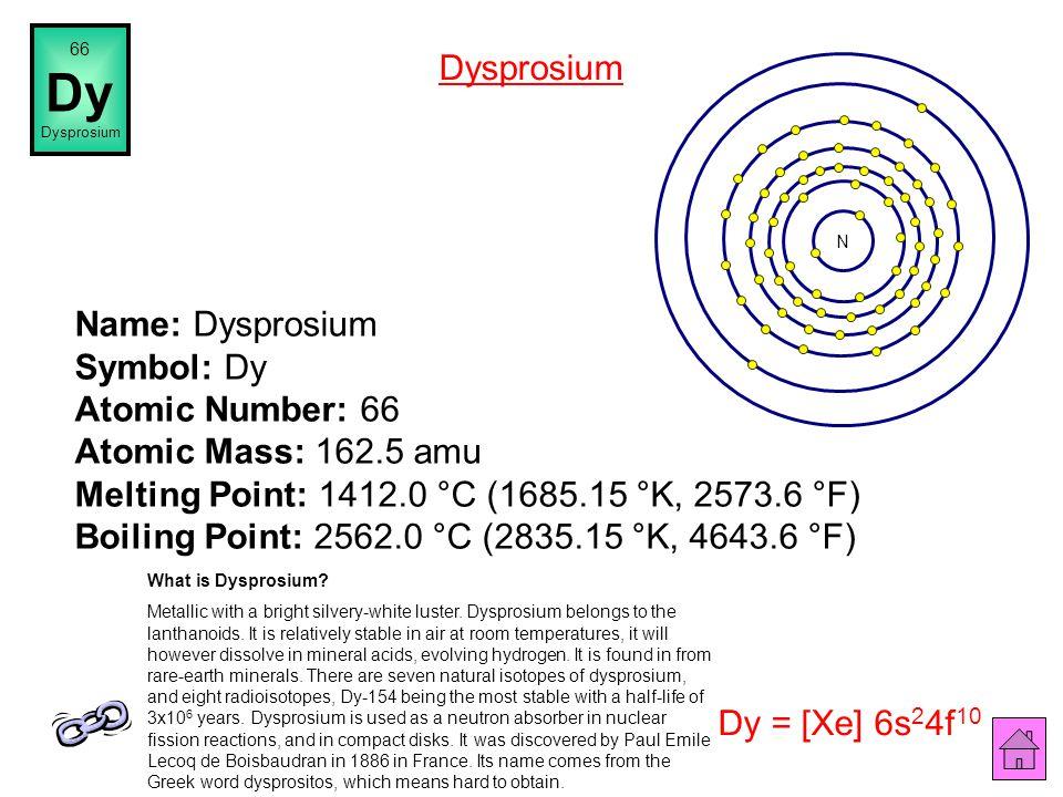 Name: Terbium Symbol: Tb Atomic Number: 65 Atomic Mass: 158.92534 amu Melting Point: 1360.0 °C (1633.15 °K, 2480.0 °F) Boiling Point: 3041.0 °C (3314.