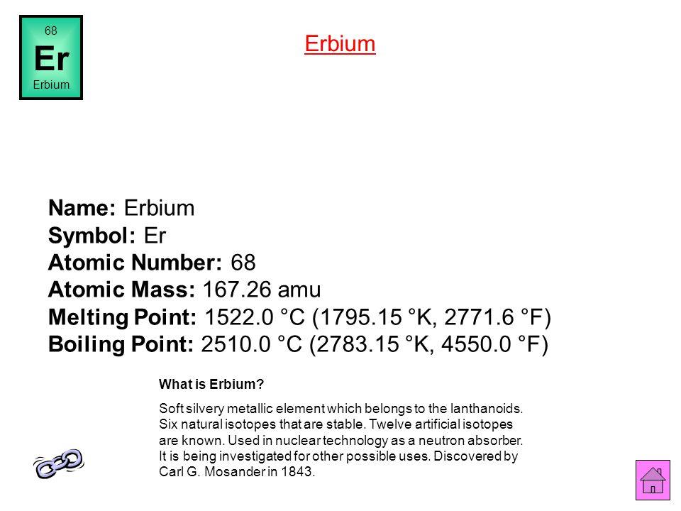 Name: Holmium Symbol: Ho Atomic Number: 67 Atomic Mass: 164.93031 amu Melting Point: 1470.0 °C (1743.15 °K, 2678.0 °F) Boiling Point: 2720.0 °C (2993.