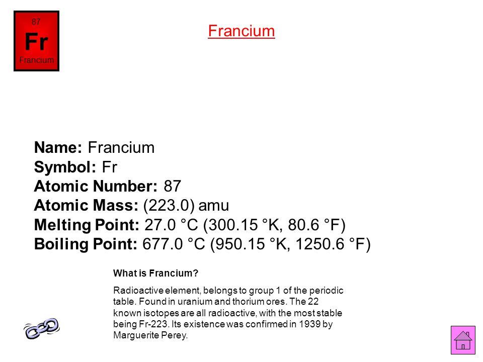 86 Rn Radon Name: Radon Symbol: Rn Atomic Number: 86 Atomic Mass: (222.0) amu Melting Point: -71.0 °C (202.15 °K, -95.8 °F) Boiling Point: -61.8 °C (2