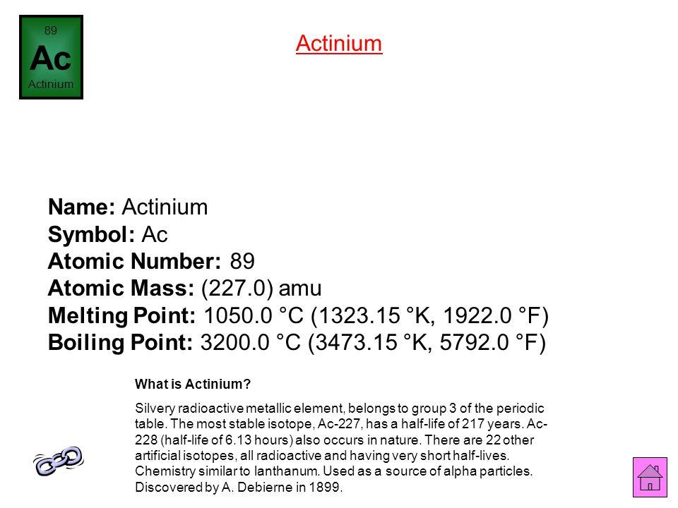 Name: Radium Symbol: Ra Atomic Number: 88 Atomic Mass: (226.0) amu Melting Point: 700.0 °C (973.15 °K, 1292.0 °F) Boiling Point: 1737.0 °C (2010.15 °K