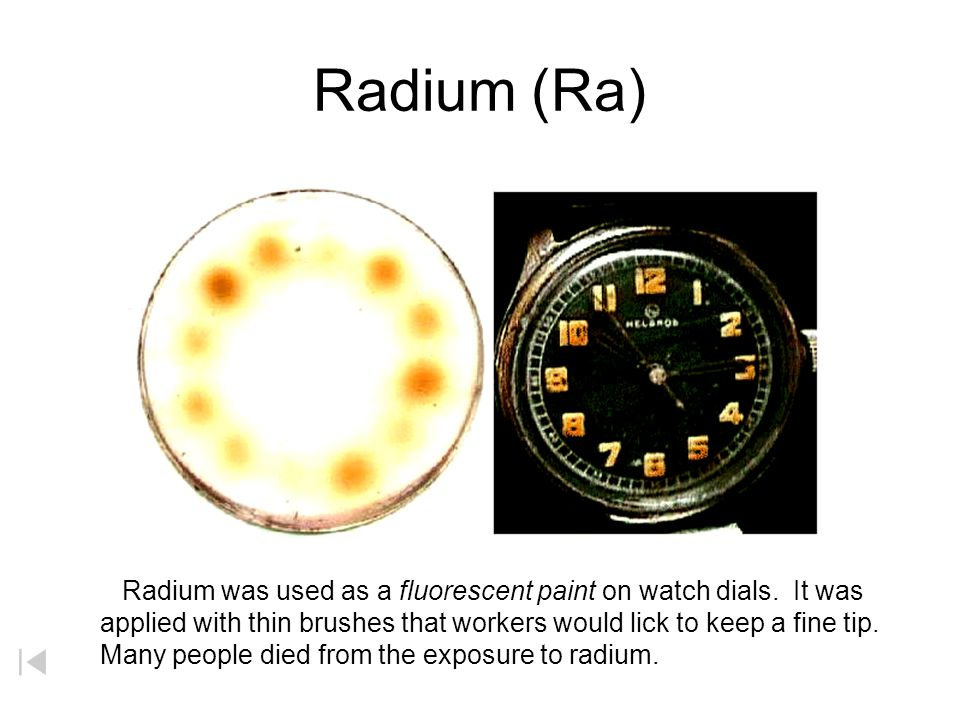Curium (Cm) Madame Curie –Pioneer in radioactivity (Ra = radium) –25 pounds of pitchblende ore yields 1 / 1000 of a gram of radium –Emits 2 millions t