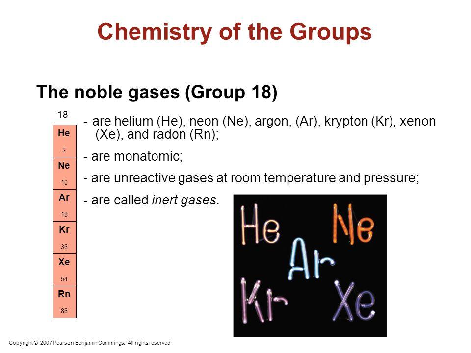 Noble Gases, Group 18 H N OF Cl Br I Li Na K Fr Be Mg Ca Ra Sc Ac He Ne Ar Kr Rn Ti V Cr Mn Fe Co Ni Cu ZnGa Ge As Se Rb Sr Y Xe Zr Nb Mo Tc Ru Rh Pd