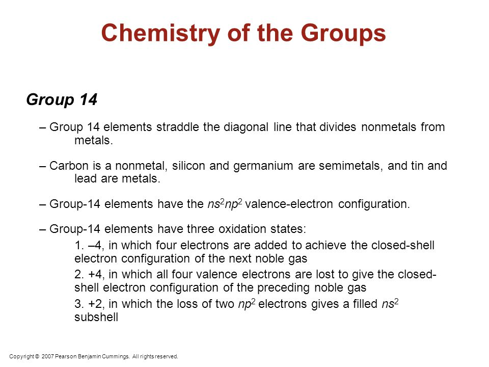 Chemistry of the Groups Copyright © 2007 Pearson Benjamin Cummings. All rights reserved. Group 15, the Pnicogens – The pnicogens are nitrogen, phospho