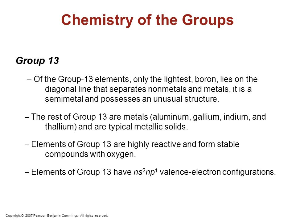 Group 14 – Group 14 elements straddle the diagonal line that divides nonmetals from metals. – Carbon is a nonmetal, silicon and germanium are semimeta