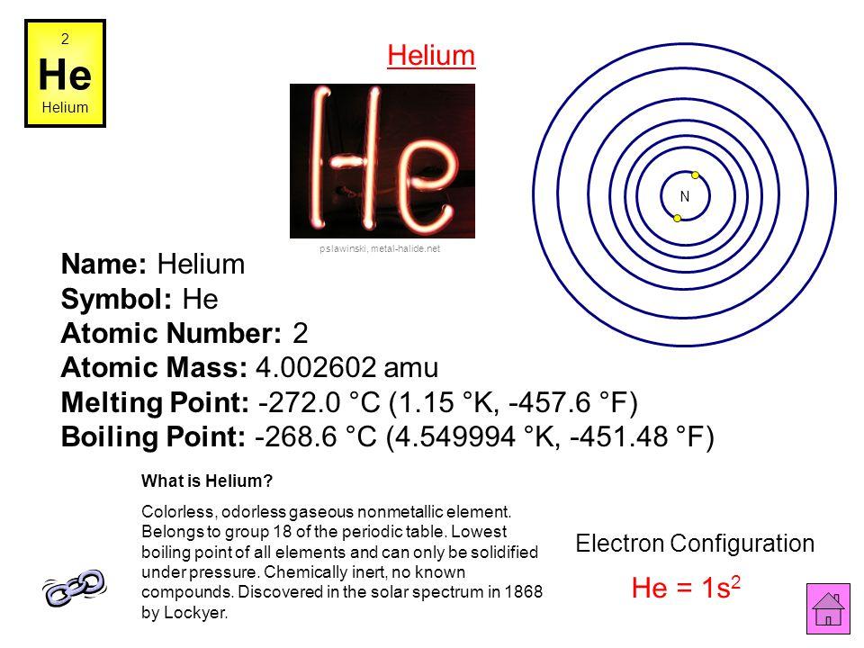 1 H Hydrogen Name: Hydrogen Symbol: H Atomic Number: 1 Atomic Mass: 1.00794 amu Melting Point: -259.14 °C (14.009985 °K, -434.45203 °F) Boiling Point: