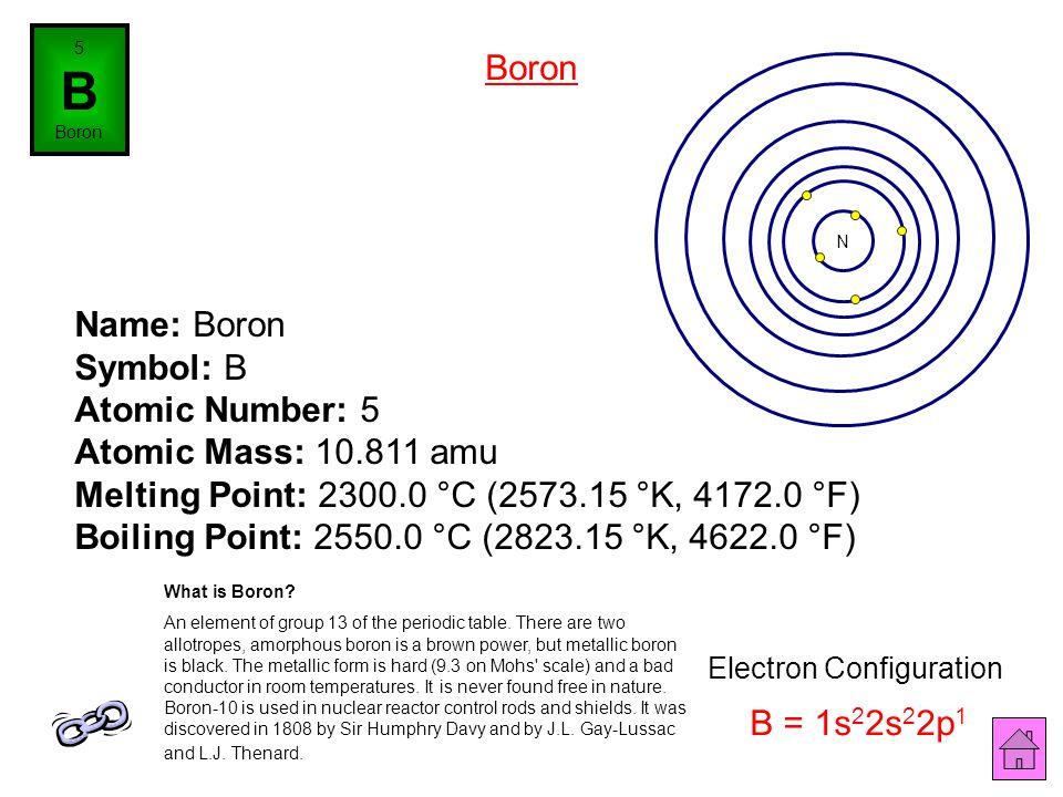 4 Be Beryllium Name: Beryllium Symbol: Be Atomic Number: 4 Atomic Mass: 9.012182 amu Melting Point: 1278.0 °C (1551.15 °K, 2332.4 °F) Boiling Point: 2