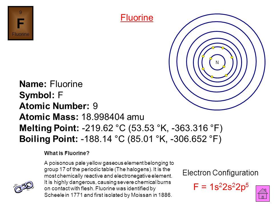 8 O Oxygen Name: Oxygen Symbol: O Atomic Number: 8 Atomic Mass: 15.9994 amu Melting Point: -218.4 °C (54.75 °K, -361.12 °F) Boiling Point: -183.0 °C (