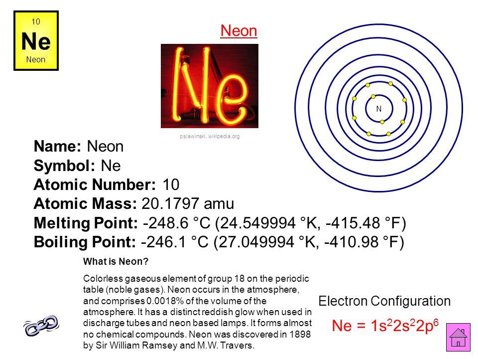 9 F Fluorine Name: Fluorine Symbol: F Atomic Number: 9 Atomic Mass: 18.998404 amu Melting Point: -219.62 °C (53.53 °K, -363.316 °F) Boiling Point: -18