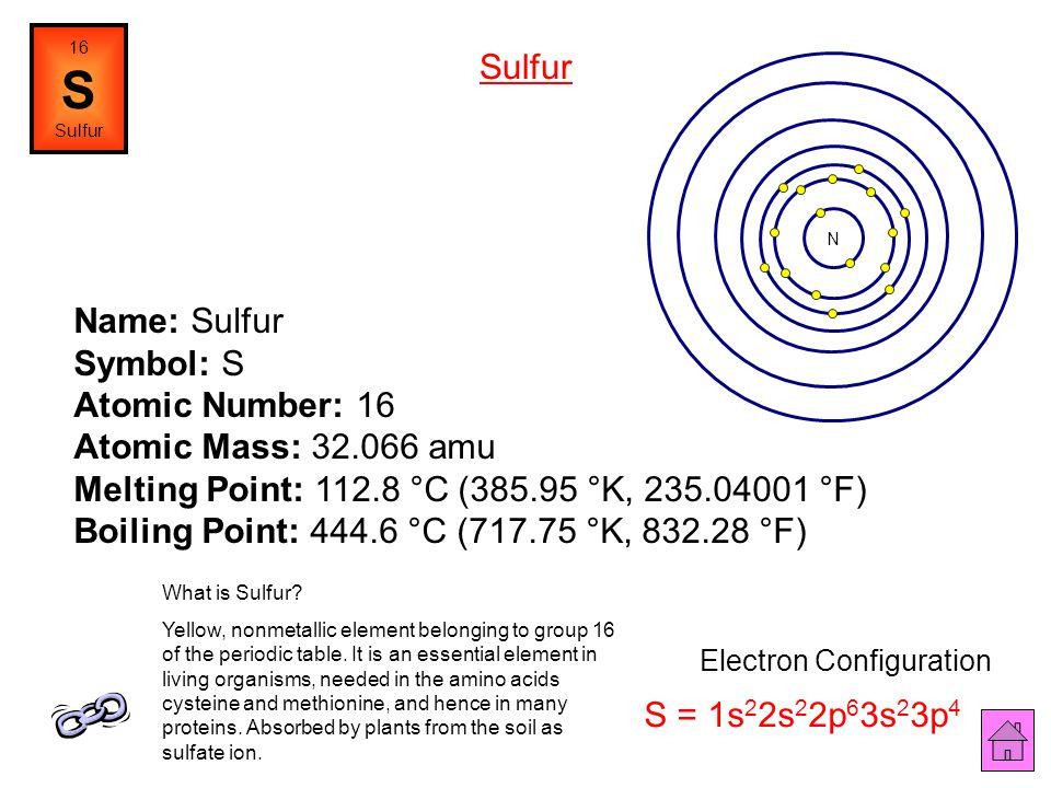 Name: Phosphorus Symbol: P Atomic Number: 15 Atomic Mass: 30.97376 amu Melting Point: 44.1 °C (317.25 °K, 111.38 °F) Boiling Point: 280.0 °C (553.15 °