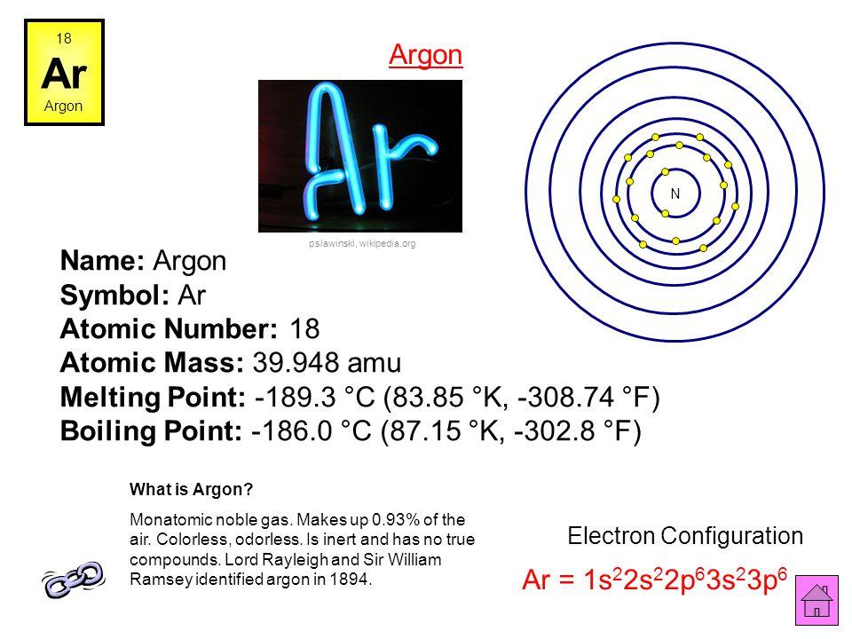 Name: Chlorine Symbol: Cl Atomic Number: 17 Atomic Mass: 35.4527 amu Melting Point: -100.98 °C (172.17 °K, -149.764 °F) Boiling Point: -34.6 °C (238.5