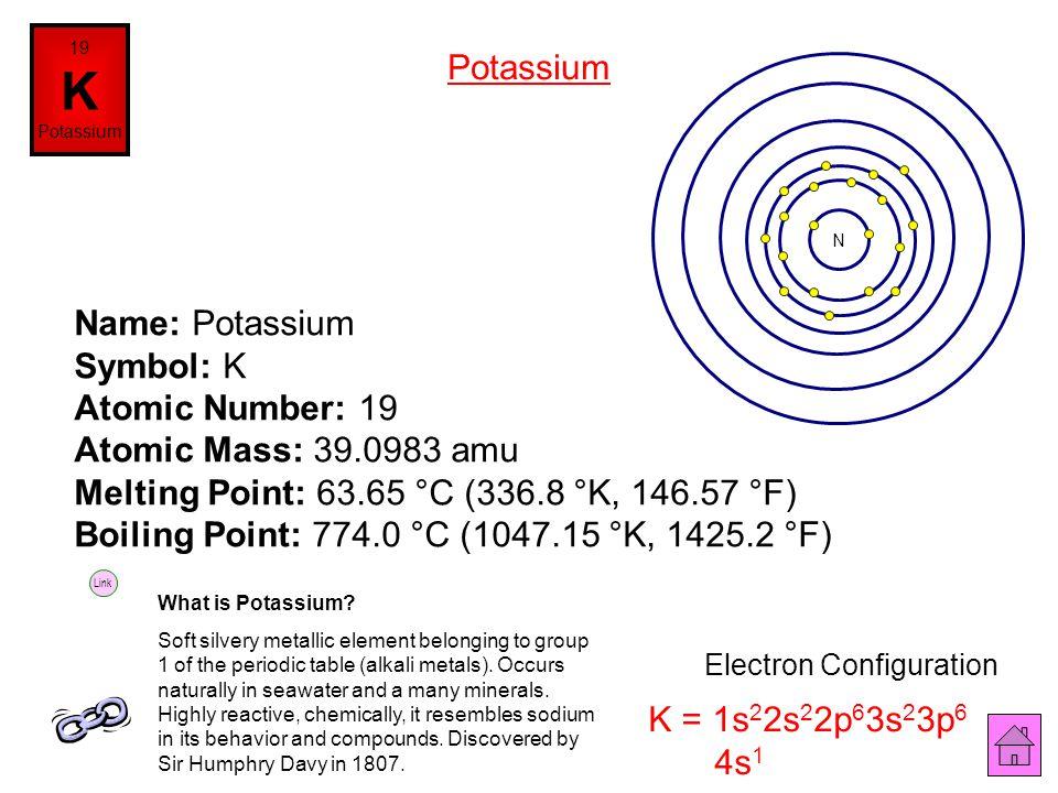 Name: Argon Symbol: Ar Atomic Number: 18 Atomic Mass: 39.948 amu Melting Point: -189.3 °C (83.85 °K, -308.74 °F) Boiling Point: -186.0 °C (87.15 °K, -