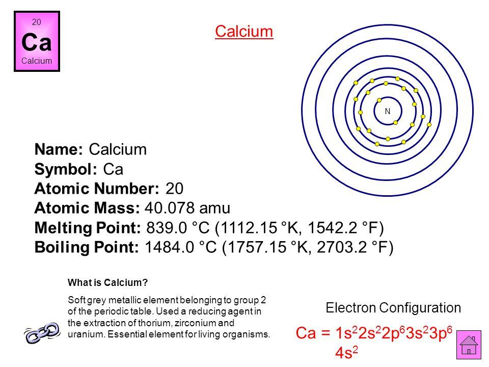 Name: Potassium Symbol: K Atomic Number: 19 Atomic Mass: 39.0983 amu Melting Point: 63.65 °C (336.8 °K, 146.57 °F) Boiling Point: 774.0 °C (1047.15 °K