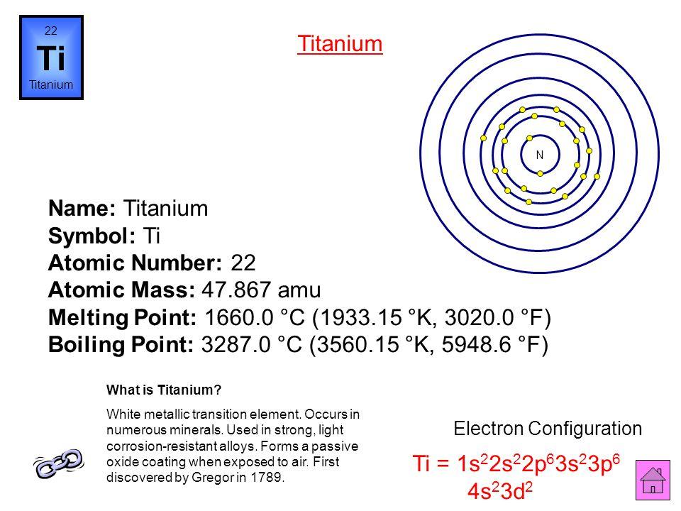 21 Sc Scandium Name: Scandium Symbol: Sc Atomic Number: 21 Atomic Mass: 44.95591 amu Melting Point: 1539.0 °C (1812.15 °K, 2802.2 °F) Boiling Point: 2