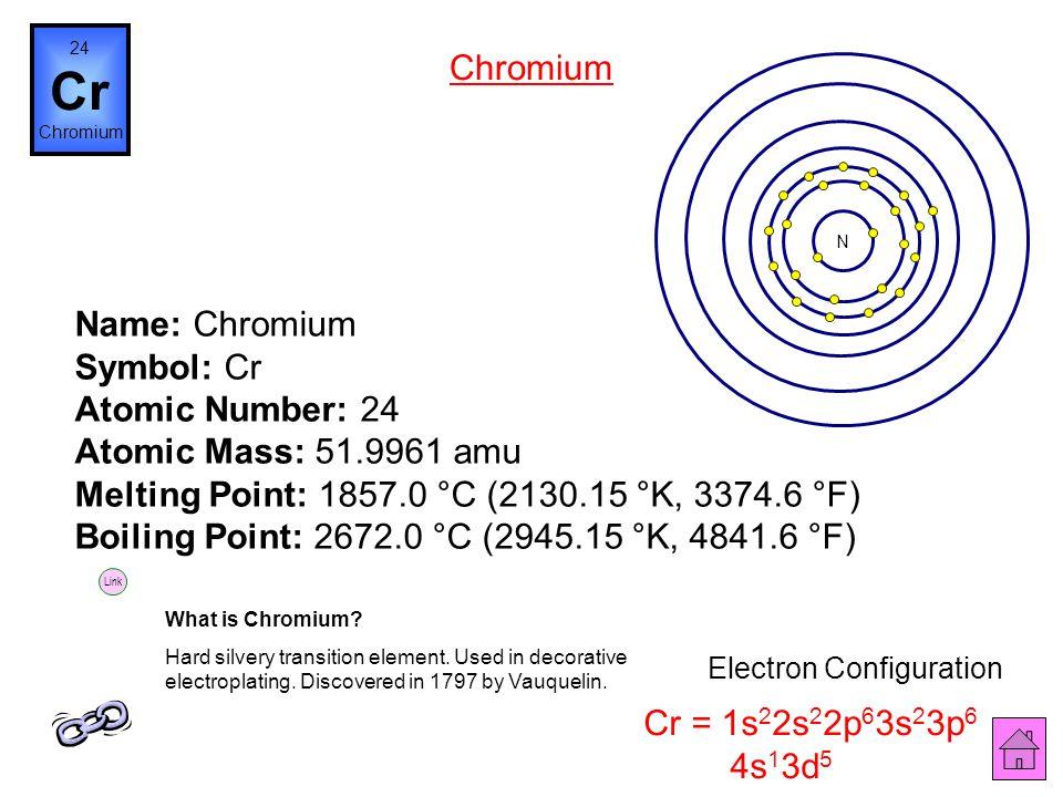 Name: Vanadium Symbol: V Atomic Number: 23 Atomic Mass: 50.9415 amu Melting Point: 1890.0 °C (2163.15 °K, 3434.0 °F) Boiling Point: 3380.0 °C (3653.15