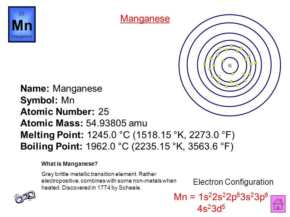 Name: Chromium Symbol: Cr Atomic Number: 24 Atomic Mass: 51.9961 amu Melting Point: 1857.0 °C (2130.15 °K, 3374.6 °F) Boiling Point: 2672.0 °C (2945.1