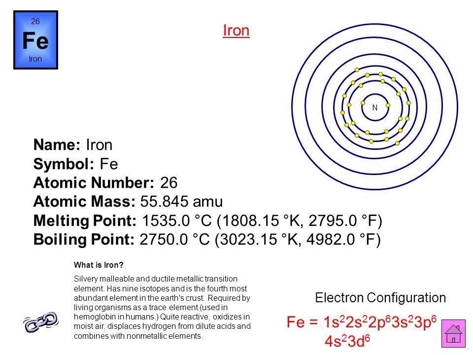Name: Manganese Symbol: Mn Atomic Number: 25 Atomic Mass: 54.93805 amu Melting Point: 1245.0 °C (1518.15 °K, 2273.0 °F) Boiling Point: 1962.0 °C (2235