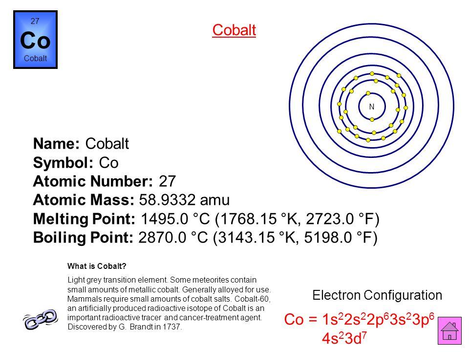 Name: Iron Symbol: Fe Atomic Number: 26 Atomic Mass: 55.845 amu Melting Point: 1535.0 °C (1808.15 °K, 2795.0 °F) Boiling Point: 2750.0 °C (3023.15 °K,