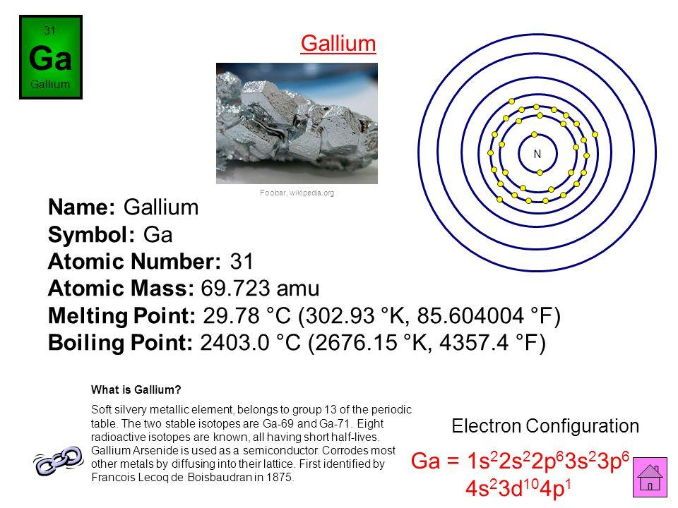 Name: Zinc Symbol: Zn Atomic Number: 30 Atomic Mass: 65.39 amu Melting Point: 419.58 °C (692.73 °K, 787.24396 °F) Boiling Point: 907.0 °C (1180.15 °K,