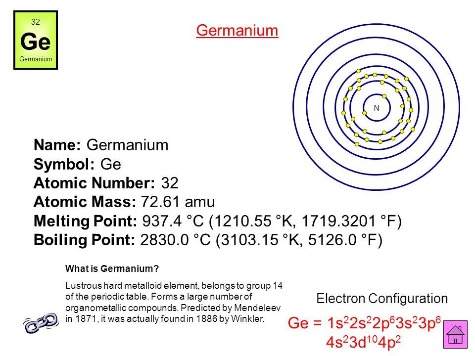 Foobar, wikipedia.org Name: Gallium Symbol: Ga Atomic Number: 31 Atomic Mass: 69.723 amu Melting Point: 29.78 °C (302.93 °K, 85.604004 °F) Boiling Poi