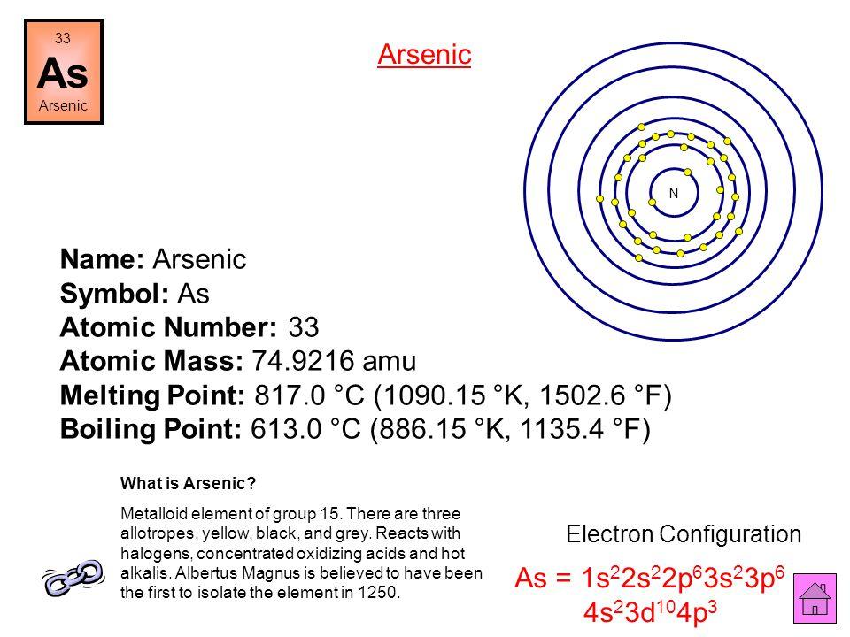 Name: Germanium Symbol: Ge Atomic Number: 32 Atomic Mass: 72.61 amu Melting Point: 937.4 °C (1210.55 °K, 1719.3201 °F) Boiling Point: 2830.0 °C (3103.