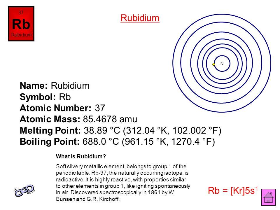 Name: Krypton Symbol: Kr Atomic Number: 36 Atomic Mass: 83.8 amu Melting Point: -157.2 °C (115.950005 °K, -250.95999 °F) Boiling Point: -153.4 °C (119