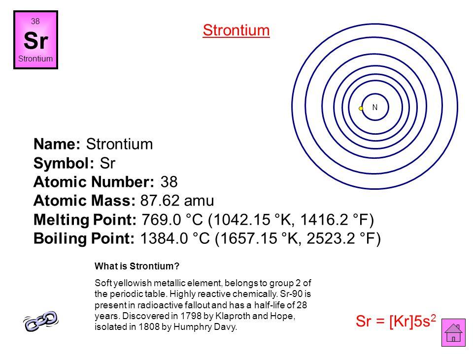 Name: Rubidium Symbol: Rb Atomic Number: 37 Atomic Mass: 85.4678 amu Melting Point: 38.89 °C (312.04 °K, 102.002 °F) Boiling Point: 688.0 °C (961.15 °