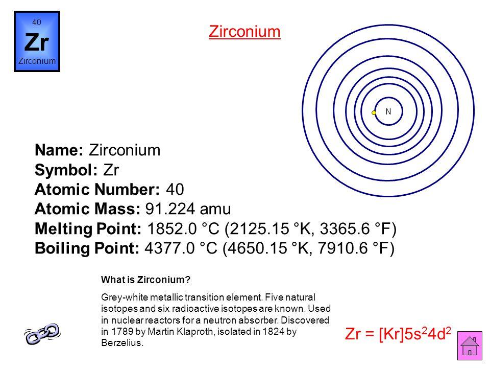 Name: Yttrium Symbol: Y Atomic Number: 39 Atomic Mass: 88.90585 amu Melting Point: 1523.0 °C (1796.15 °K, 2773.4 °F) Boiling Point: 3337.0 °C (3610.15