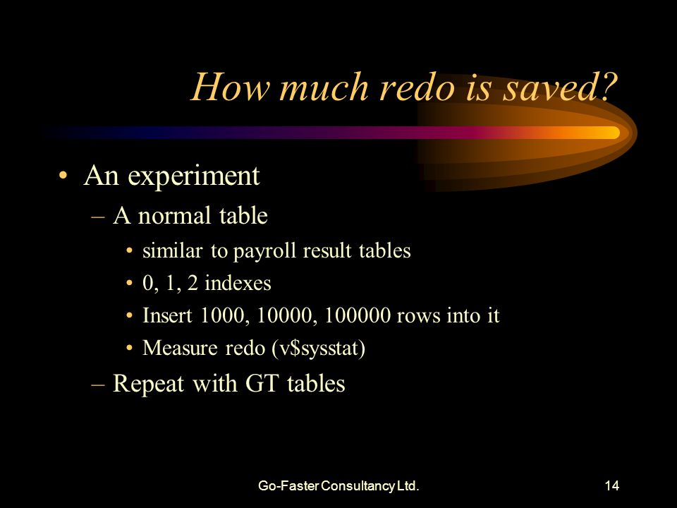 Go-Faster Consultancy Ltd.14 How much redo is saved.