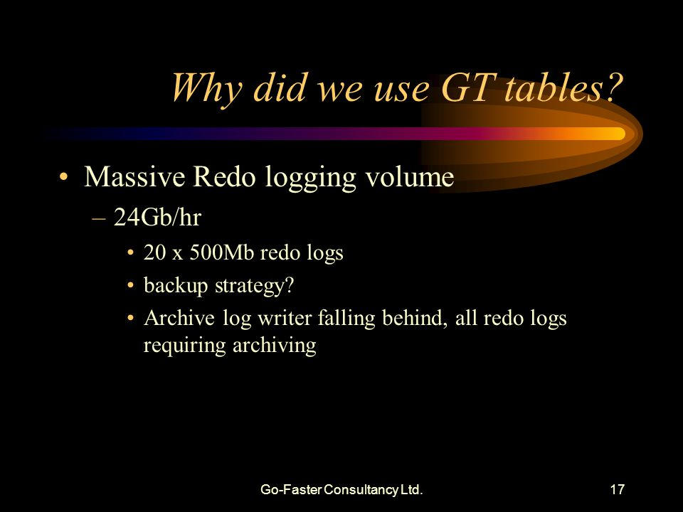 Go-Faster Consultancy Ltd.17 Why did we use GT tables.