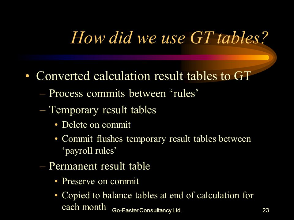 Go-Faster Consultancy Ltd.23 How did we use GT tables.
