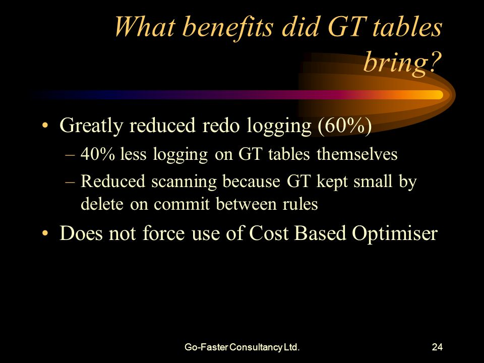 Go-Faster Consultancy Ltd.24 What benefits did GT tables bring? Greatly reduced redo logging (60%) –40% less logging on GT tables themselves –Reduced