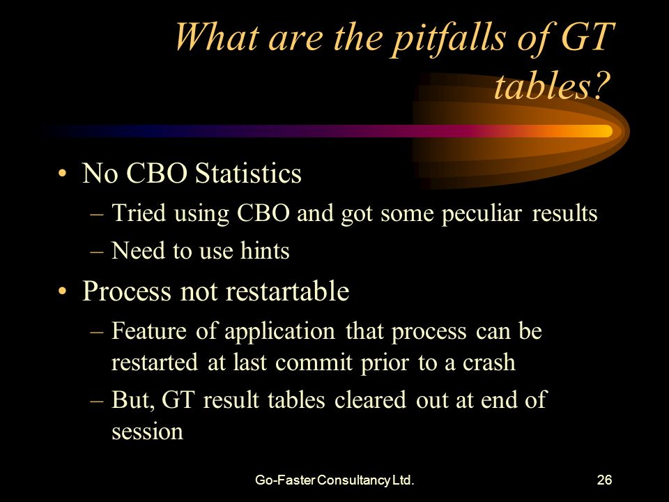 Go-Faster Consultancy Ltd.26 What are the pitfalls of GT tables? No CBO Statistics –Tried using CBO and got some peculiar results –Need to use hints P
