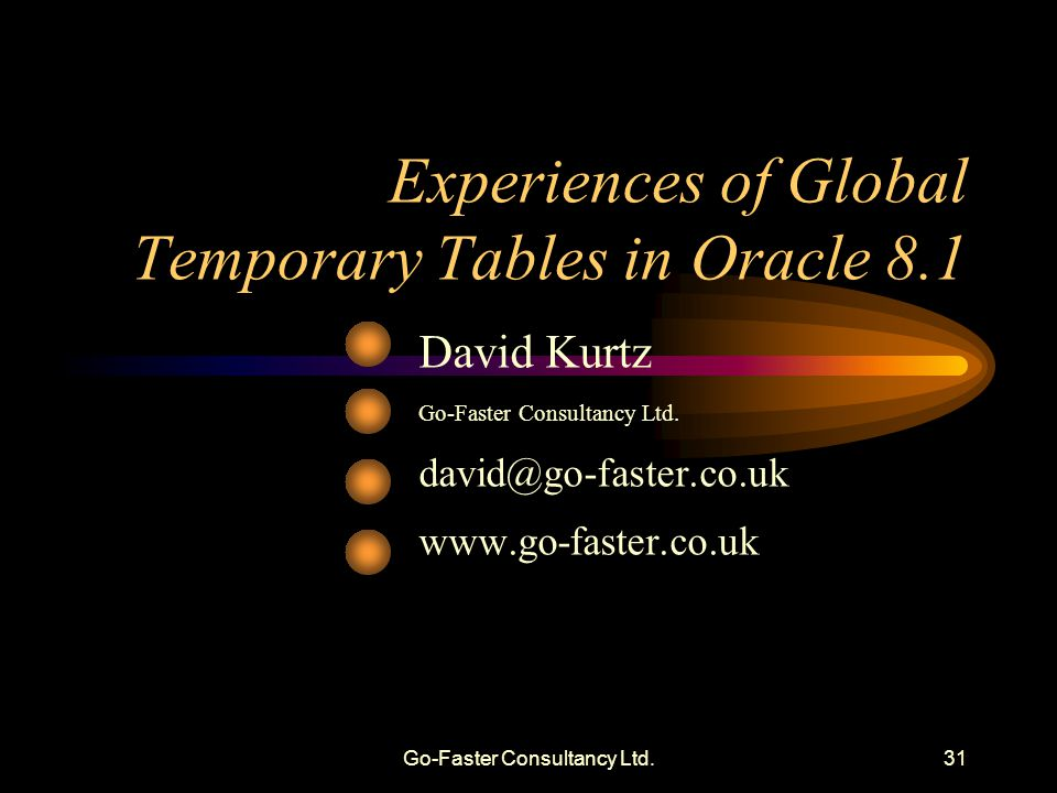 Go-Faster Consultancy Ltd.31 Experiences of Global Temporary Tables in Oracle 8.1 David Kurtz Go-Faster Consultancy Ltd. david@go-faster.co.uk www.go-