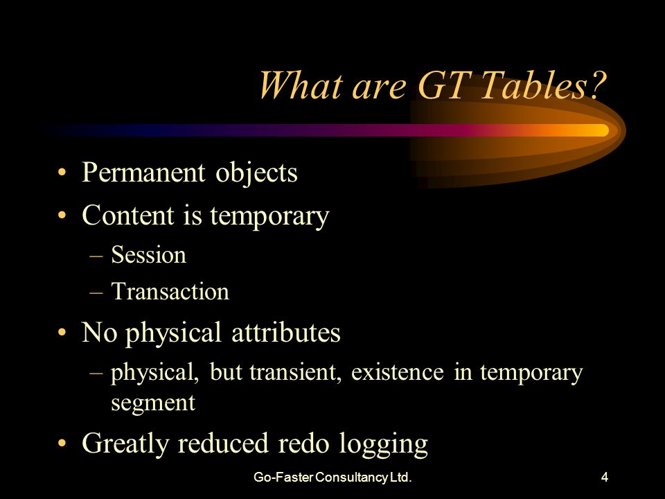 Go-Faster Consultancy Ltd.4 What are GT Tables.