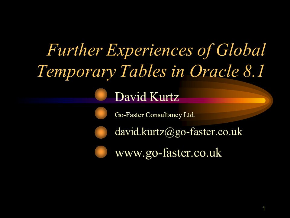 2 Further Experiences of Global Temporary Tables Who am I.