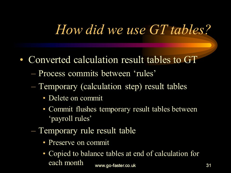 www.go-faster.co.uk31 How did we use GT tables.