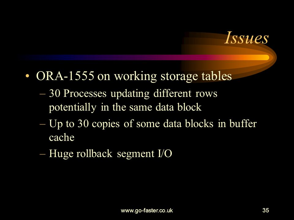 www.go-faster.co.uk35 Issues ORA-1555 on working storage tables –30 Processes updating different rows potentially in the same data block –Up to 30 copies of some data blocks in buffer cache –Huge rollback segment I/O