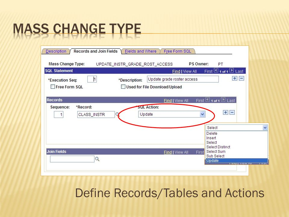 Define Records/Tables and Actions